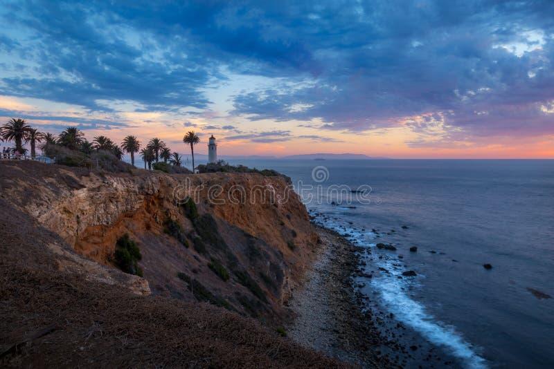Härlig punkt Vicente Lighthouse på solnedgången arkivfoto