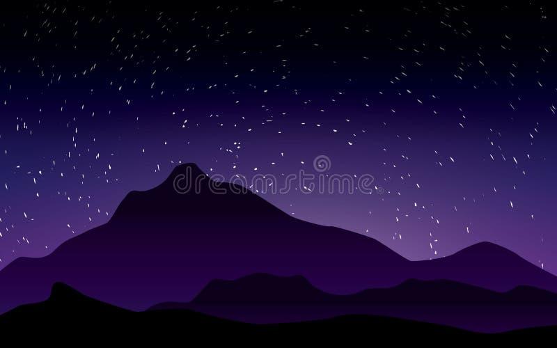 Härlig purpurfärgad himmel med den stary illustrationen för nattlandskapvektor stock illustrationer