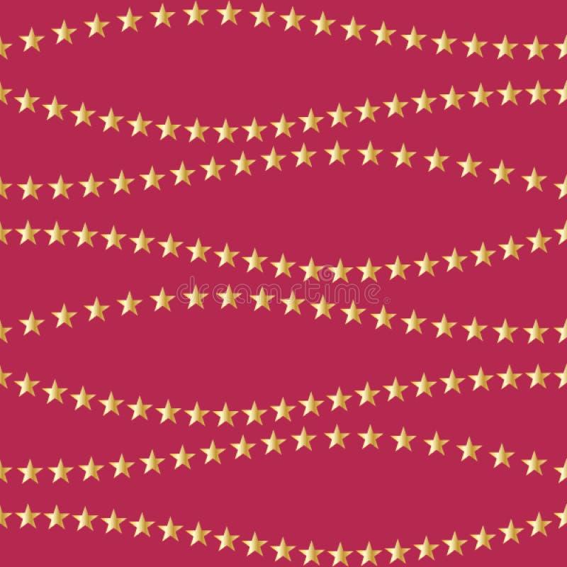 Härlig röd bakgrund med guld- stjärnor seamless feriemodell Prydnad f?r g?vainpackningspapper, tyg, h?lsning royaltyfri illustrationer