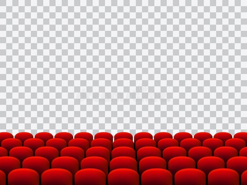 Härlig röd bio- eller teaterplatsvektor på genomskinlig bakgrund royaltyfri illustrationer