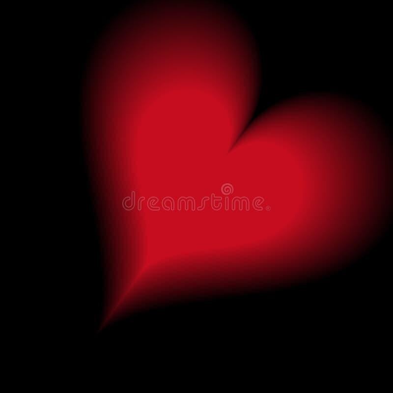 Härlig röd hjärtaform på svart royaltyfri illustrationer