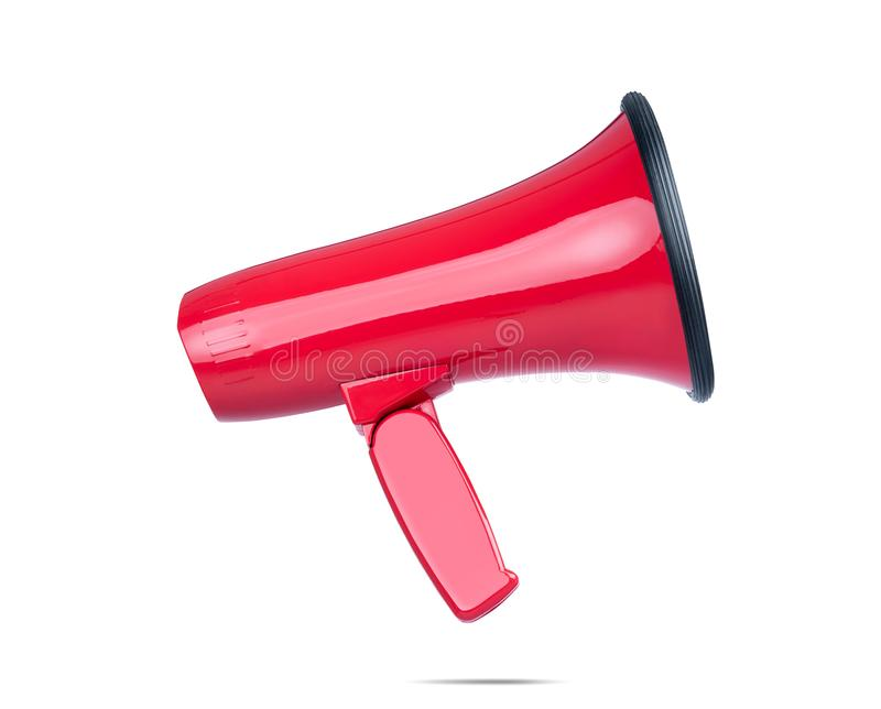Härlig röd megafon, sidosikt som isoleras på vit bakgrund Mappen inneh?ller en bana till isolering royaltyfri bild