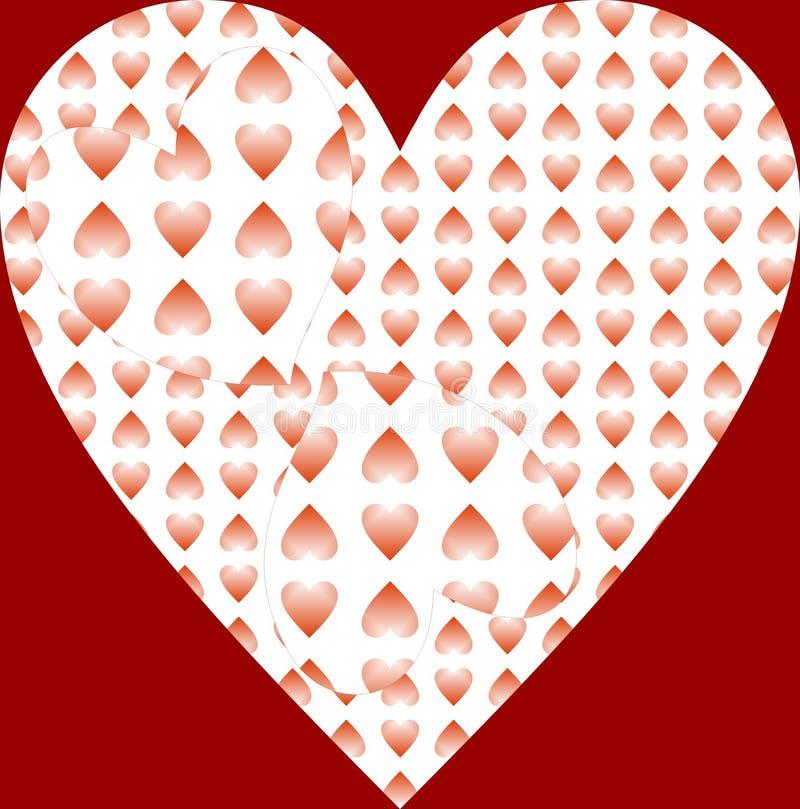Härlig röd skuggad hjärta som har illusionen 3d i den bakgrund och illustrationdesign stock illustrationer