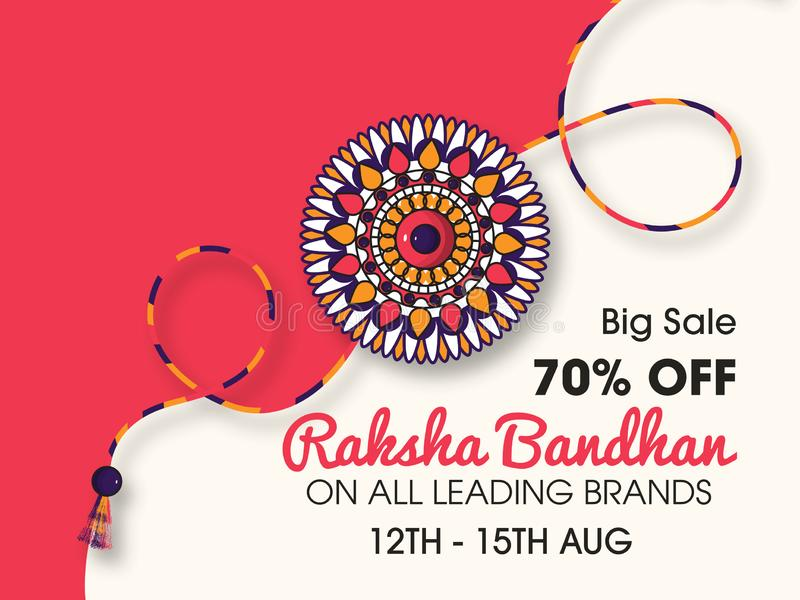 Härlig rakhi med bakgrund för lyckliga Raksha Bandhan berömmar vektor illustrationer