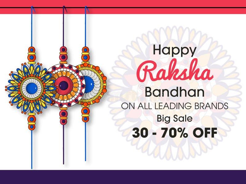 Härlig rakhi med bakgrund för lyckliga Raksha Bandhan berömmar stock illustrationer