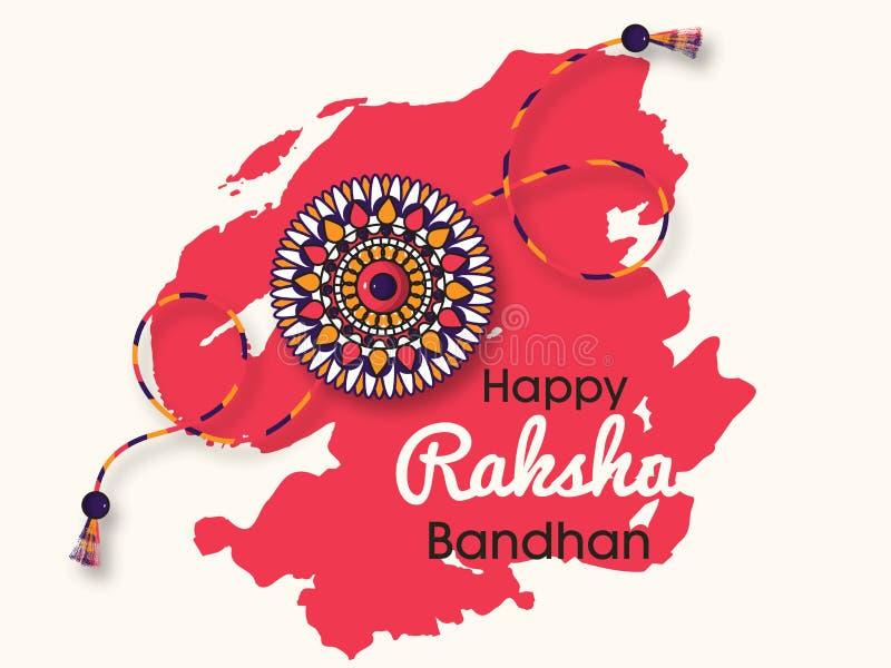 Härlig rakhi med bakgrund för lyckliga Raksha Bandhan berömmar royaltyfri illustrationer