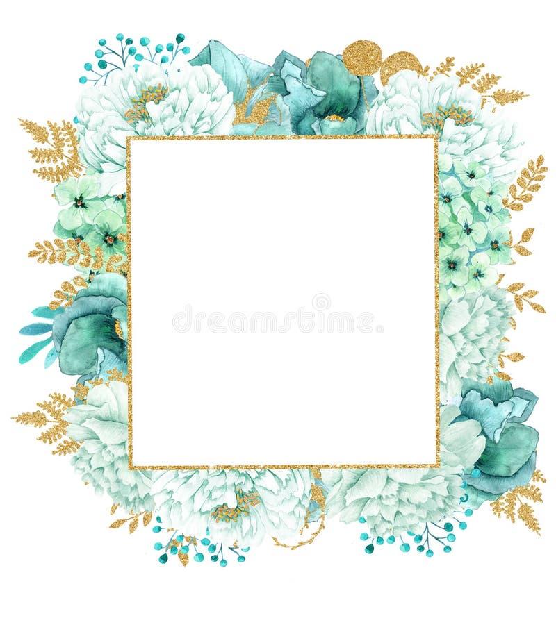 Härlig ram för vattenfärgmintkaramellblommor Guld- blommaram för mintkaramell! fotografering för bildbyråer