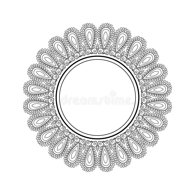 Härlig ram för vektor med stället för text Svartvit mandalamodell med den etniska indiska prydnaden royaltyfri illustrationer