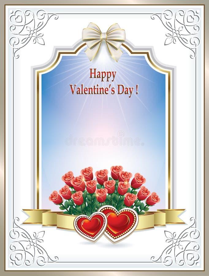 Härlig ram med rosor och hjärtor på valentin dag vektor illustrationer