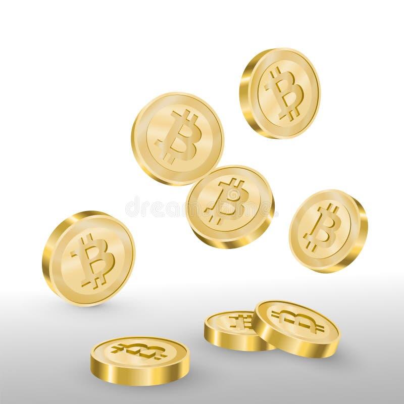 Härlig realistisk cryptocurrencyvektor av guld- fallande bitcoins på vit bakgrund stock illustrationer