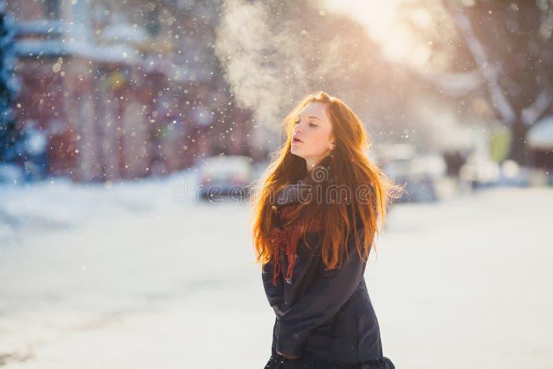 Härlig redhairflicka för stående i frostigt vinterväder arkivfoton