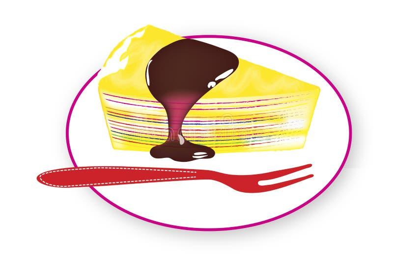 Härlig regnbåge Mille Crepe Cake arkivfoto