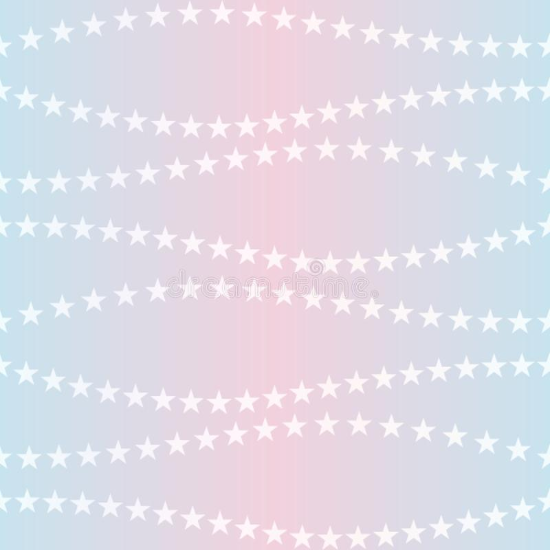 Härlig regnbågsskimrande bakgrund med vita stjärnor seamless feriemodell r stock illustrationer