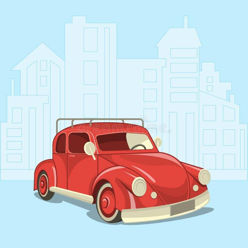 Härlig retro bil på bakgrunden av den moderna staden vektor illustrationer