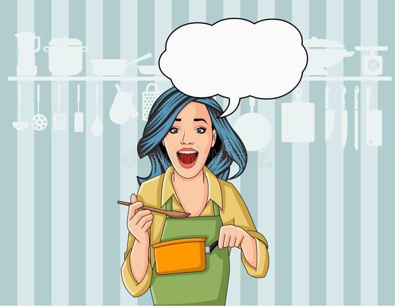 Härlig retro kockkvinna som lagar mat läckert mål i restaurangkök näringsrikt begreppsmatgourmet royaltyfri illustrationer