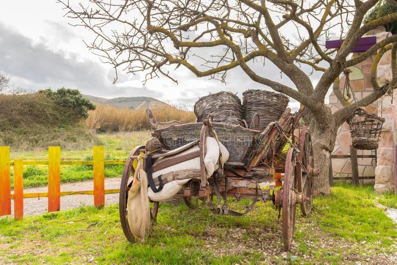 Härlig retro vagn mot en härlig bakgrund och himlen arkivbilder