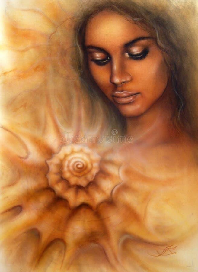 härlig retuschsprutastående av en ung kvinna med stängda ögon som mediterar på ett röra sig i spiral snäckskal arkivbild