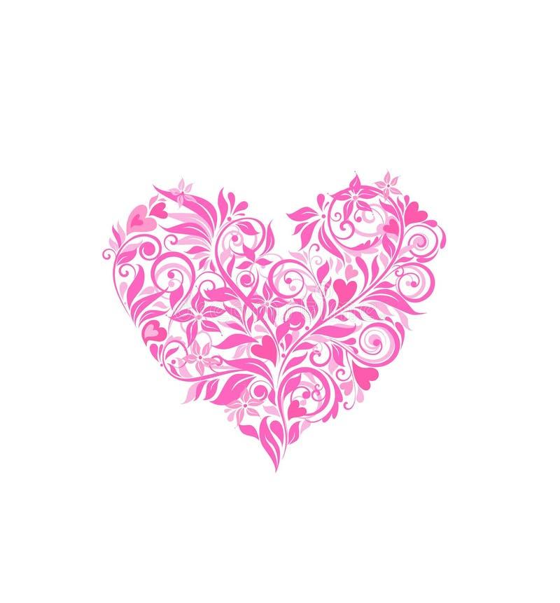 Härlig rosa blom- hjärta för att hälsa design vektor illustrationer