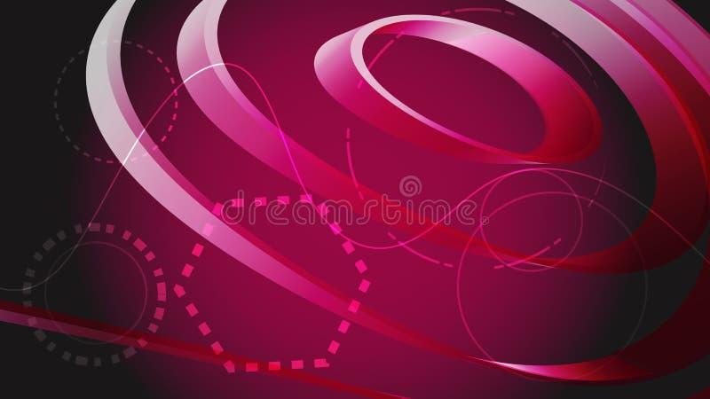 Härlig rosa digital vetenskaplig modern ändlös abstrakt rund textur av band och linjer framtid grönska för abstraktionbakgrundsge royaltyfri illustrationer