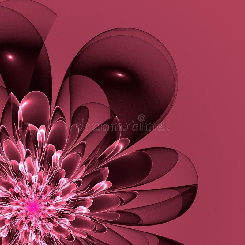 Härlig rosa färgblomma i fractaldesign Konstverk för idérik de royaltyfri illustrationer