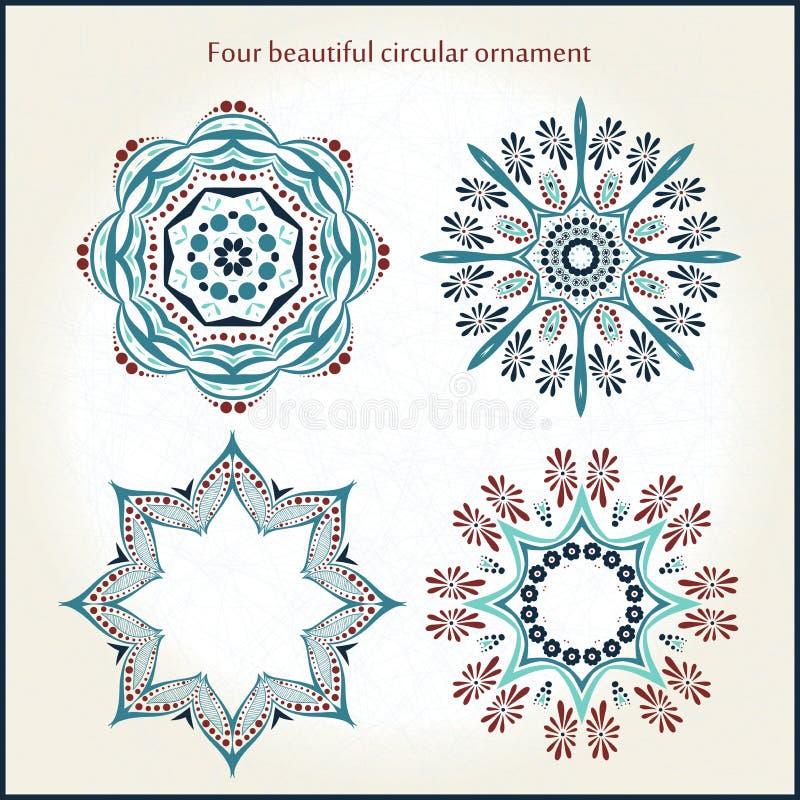 Härlig rund prydnad fyra mandala dekorativ elementtappning Islam arabiska, indier, ottomanmotiv royaltyfri illustrationer
