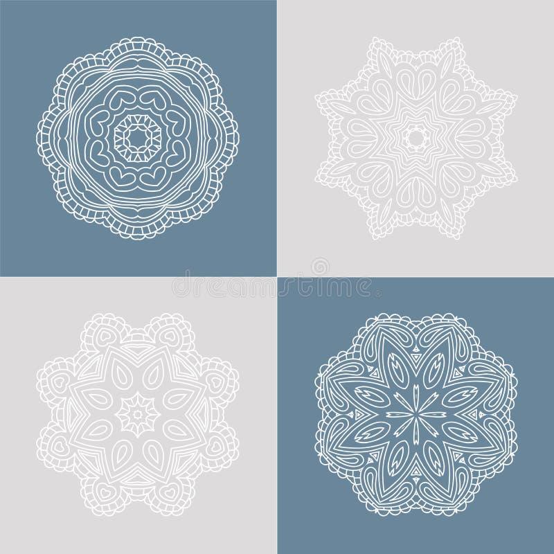 Härlig rund prydnad fyra på en kulör bakgrund mandala Stylized blommor dekorativ elementtappning vektor illustrationer