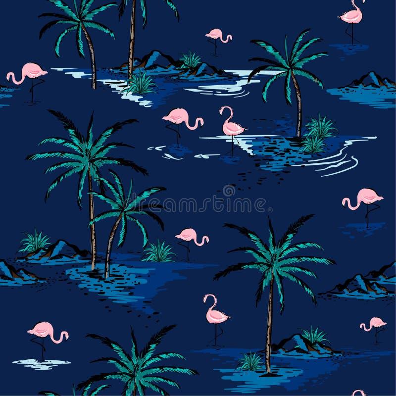Härlig sömlös ömodell för moderiktig sommar på djupblå bac royaltyfri illustrationer
