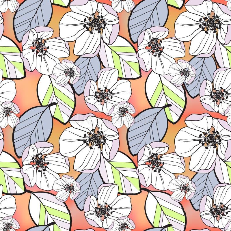 Härlig sömlös abstrakt modell av små vita och lila äppleblommor och kulöra sidor, på apelsin-guling lutning vektor illustrationer