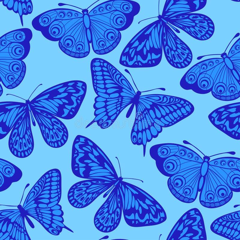 Härlig sömlös bakgrund, blå fjäril. stock illustrationer