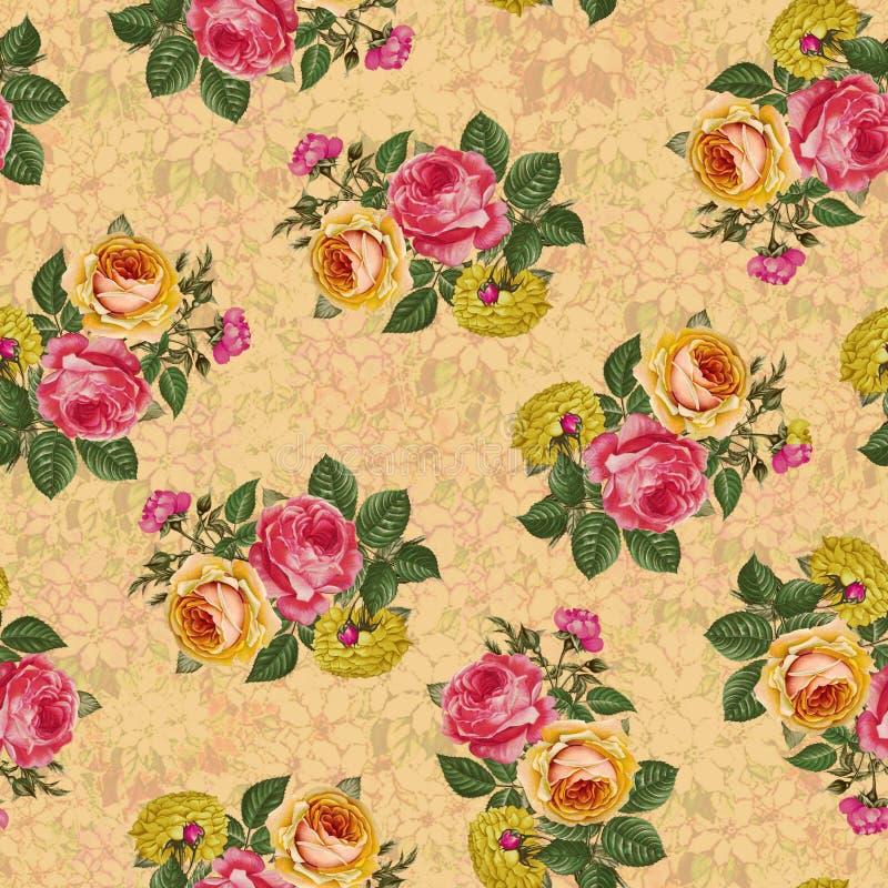 Härlig sömlös bakgrund för textur för blommamodell royaltyfri illustrationer