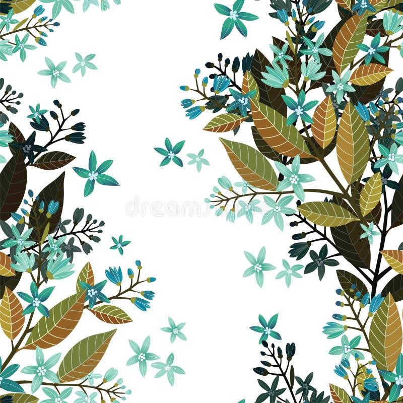 Härlig sömlös blom- modell, blommavektorillustration med förgätmigej Dekorativ vektorillustrationtextur på vit royaltyfri illustrationer