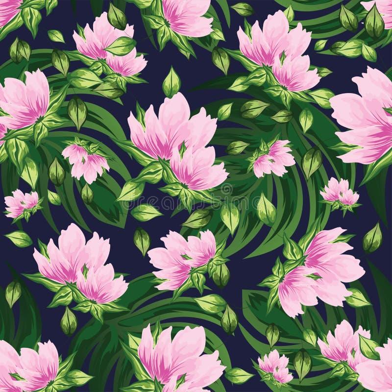 Härlig sömlös blom- modellbakgrund dekorerade med rosa färger royaltyfri illustrationer