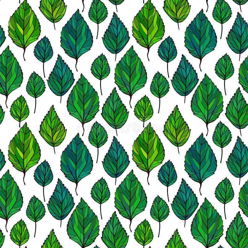 Härlig sömlös blom- modellbakgrund Gräsplan lämnar bakgrunden Hibiskusen lämnar vektorn repeatable design royaltyfri illustrationer