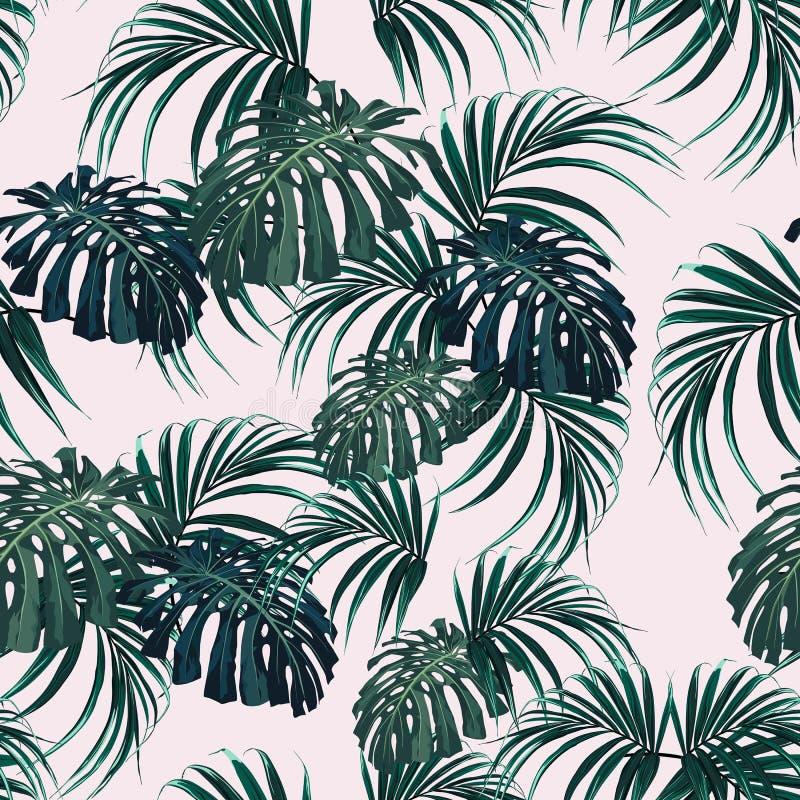 Härlig sömlös blom- modellbakgrund med tropiska palmblad royaltyfri illustrationer