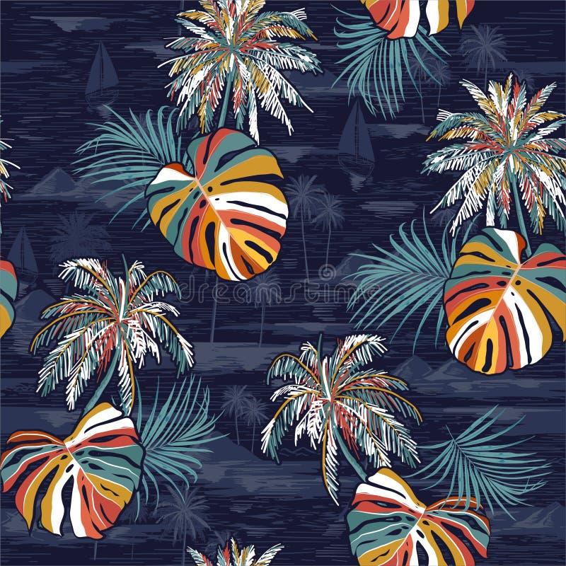 Härlig sömlös färgrik palmbladömodell på entonigt landskap med palmträd, stranden och den drog havvektorhanden vektor illustrationer