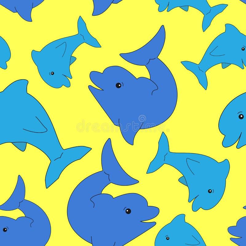 Härlig sömlös modell av delfin på en gul bakgrund vektor illustrationer