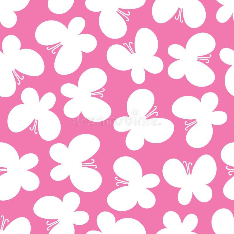 Härlig sömlös modell av fjärilar på den rosa bakgrunden stock illustrationer