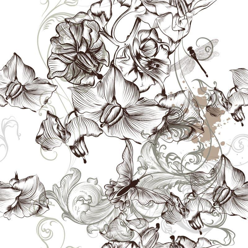 Härlig sömlös modell för blom- tapet med blommor vektor illustrationer