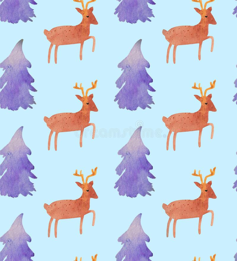Härlig sömlös modell för julvattenfärg med jultomten, hjortar, band, klockor och trädet stock illustrationer