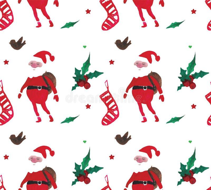 Härlig sömlös modell för julvattenfärg med Santa Claus, bär, stjärnor, sockor och fåglar vektor illustrationer