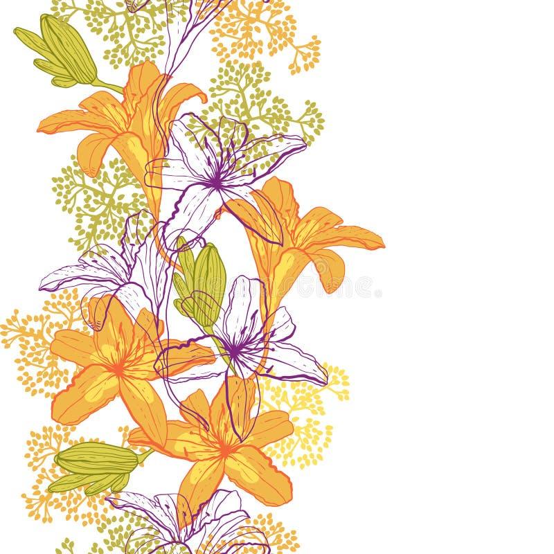 Härlig sömlös modell med liljor vektor illustrationer