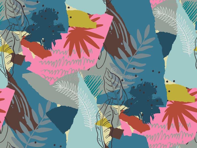 Härlig sömlös modell med ropical djungelpalmblad och abstrakt textur stock illustrationer