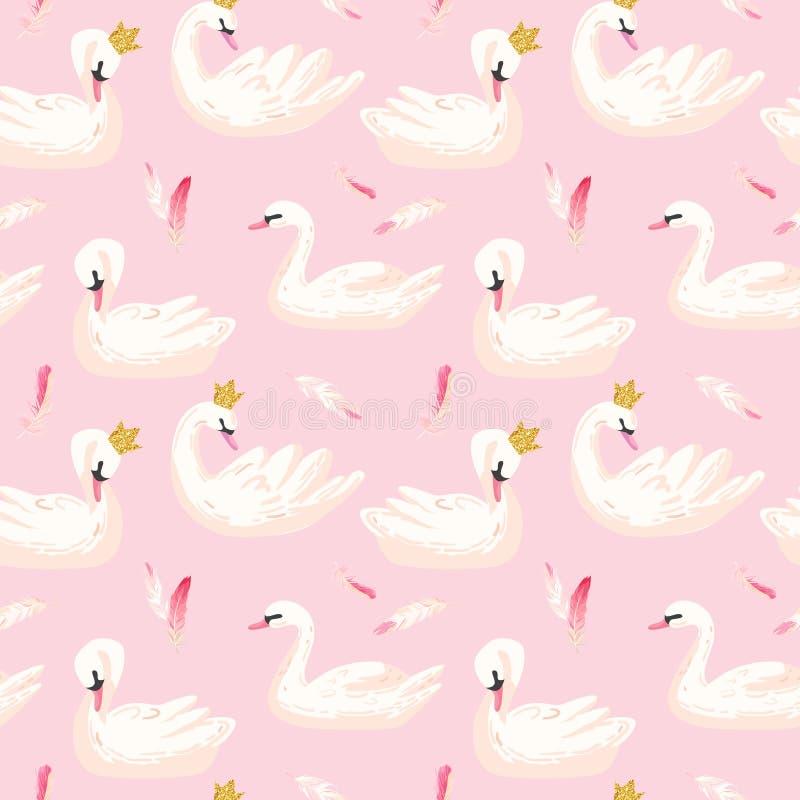 Härlig sömlös modell med vita svanar och rosa färgfjädrar, bruk för Baby bakgrund, textiltryck, räkning, tapet vektor illustrationer