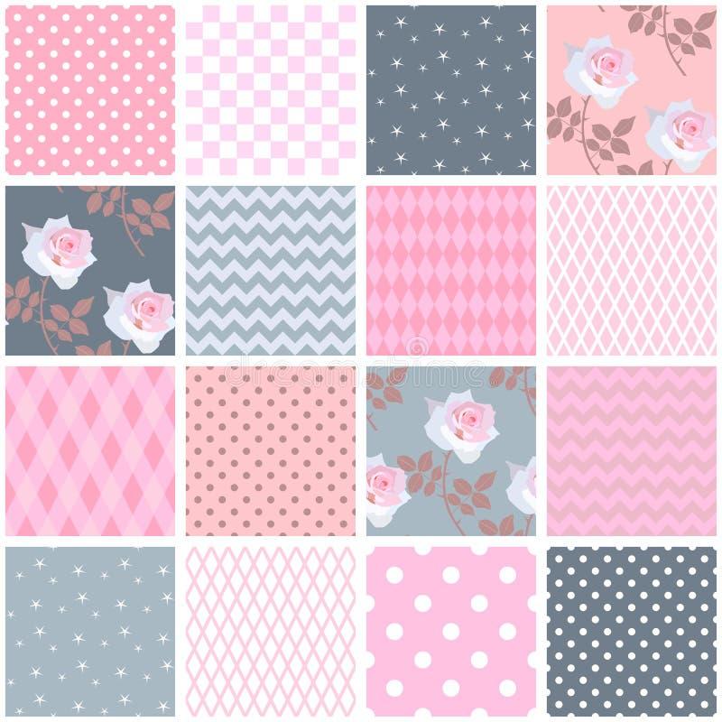 Härlig sömlös patchworkmodell med rosa rosor och geometriska dekorativa lappar Fyrkantiga beståndsdelar i sjaskig chic stil stock illustrationer