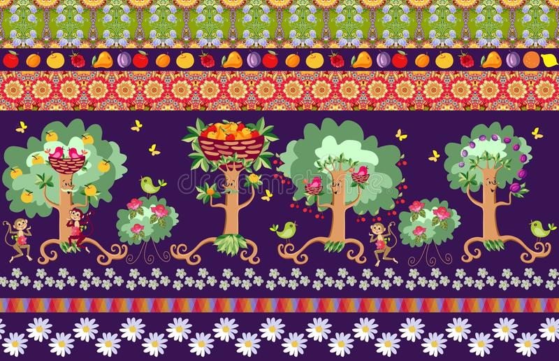 Härlig sömlös randig modell med gulliga tecknad filmfruktträd, rosa buskar, fåglar, gladlynta apor och den ljusa blom- prydnaden vektor illustrationer