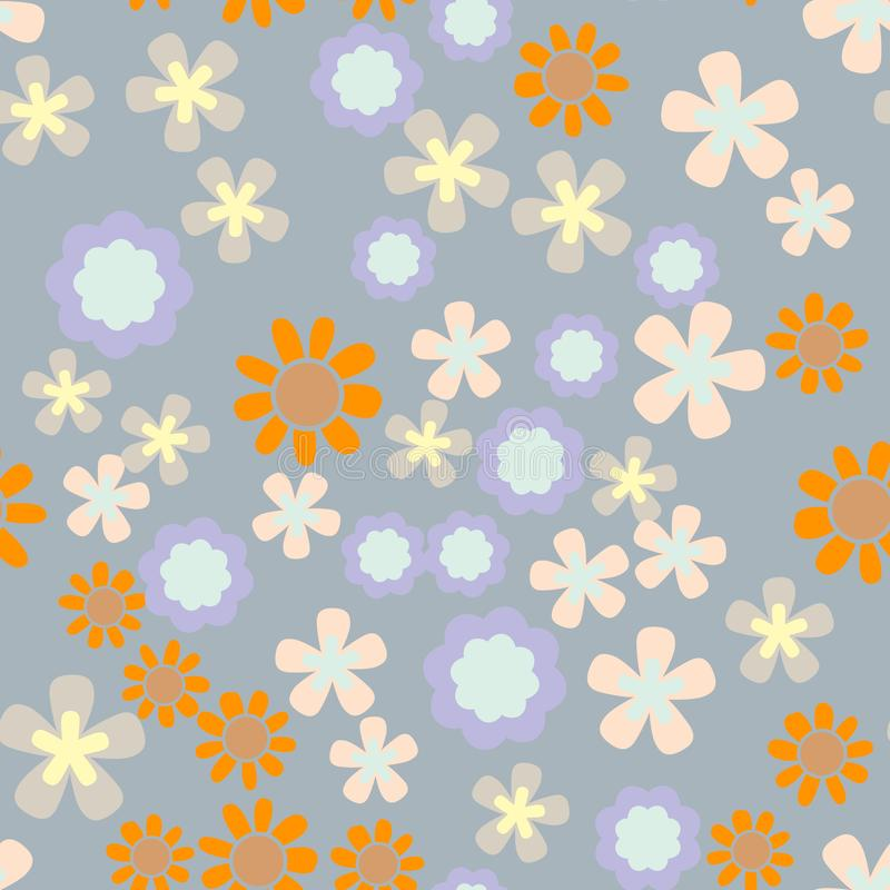Härlig sömlös romantisk modell för vektor med färgrika blommor royaltyfri illustrationer