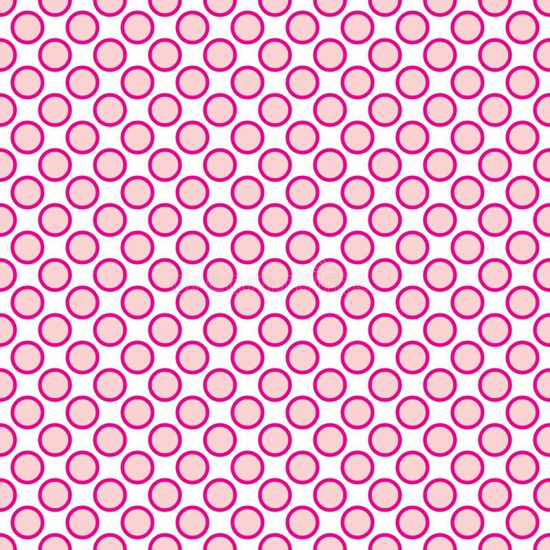 Härlig sömlös rosa prickmodell med gränsen vektor illustrationer
