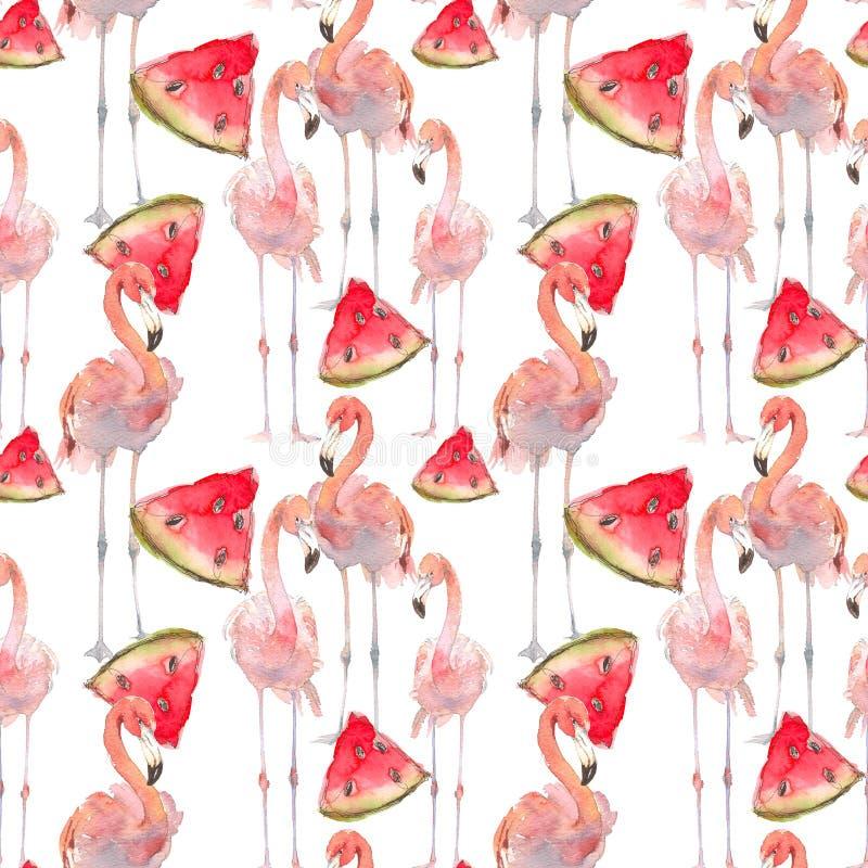 Härlig sömlös sommarmodellbakgrund med den tropiska flamingo, vattenmelonskivor Göra perfekt för tapeter, webbsida royaltyfri illustrationer