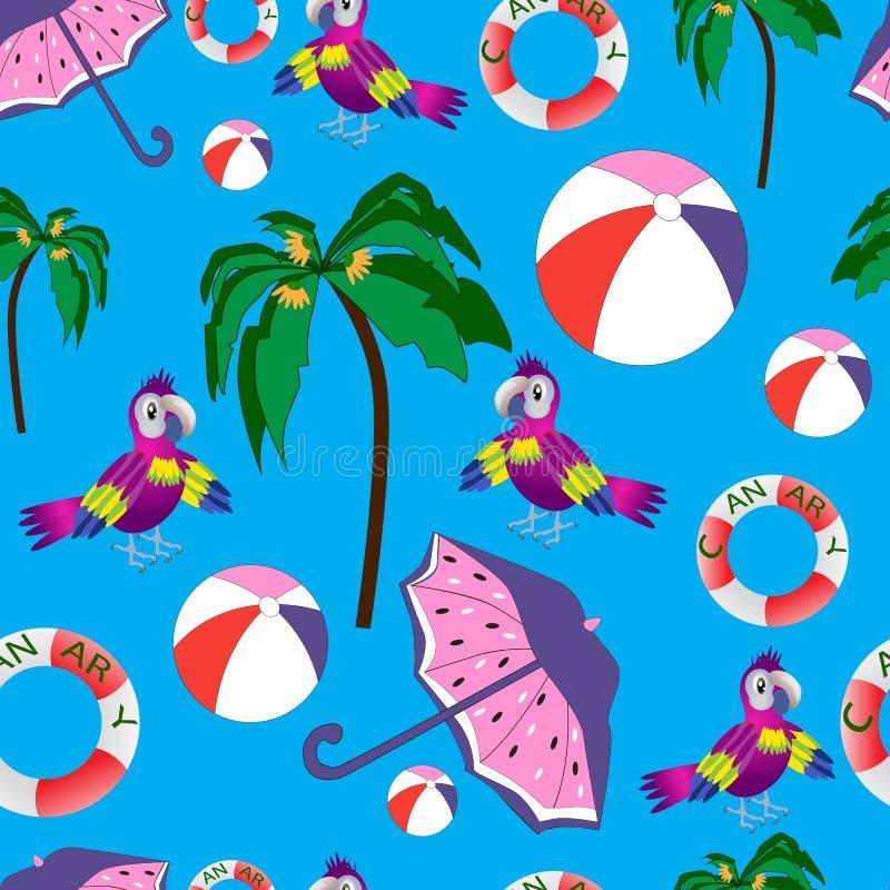 Härlig sömlös strandsommarmodell med papegojor och palmträd stock illustrationer