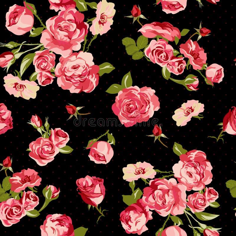 Härlig sömlös tappningbakgrund med rosor stock illustrationer